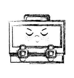 figure kawaii cute angry suitcase design vector image