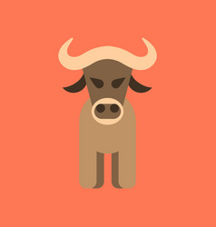 flat icon stylish background cartoon bull vector image