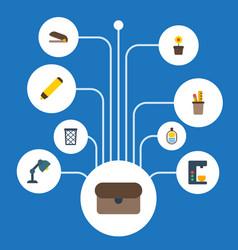 flat icons trash basket espresso machine vector image vector image