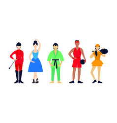 flat people hobbies set vector image