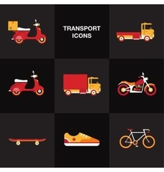 Flat transport vehicle icon set vector image