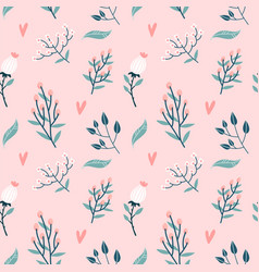 floral seamless pattern garden flowers branches vector image