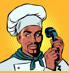 food delivery african chef takes orders phone vector image