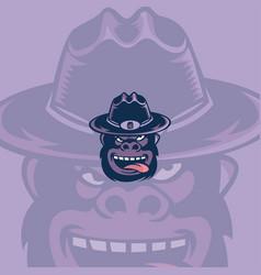 gorilla hat sport mascot logo concept vector image