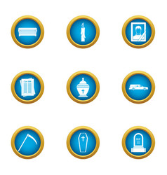 Grim icons set flat style vector