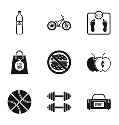 Gym icons set simple style vector