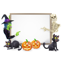 Halloween sign with skeleton and witch vector