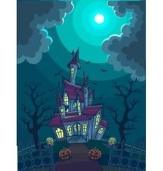Halloween with scary house vector