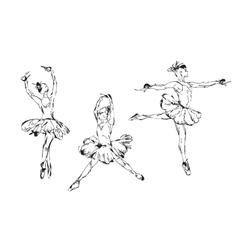 Hand drawn Ballerina dance in tutu vector