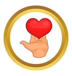 Hand giving red heart icon vector image