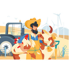 handsome man with beard cow and chicken at farm vector image