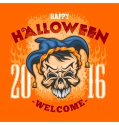 Happy Halloween Evil clown skull vector image