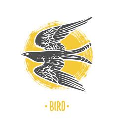 Heraldic shields with bird vector