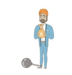 Hindu businessman with bag full of taxes vector