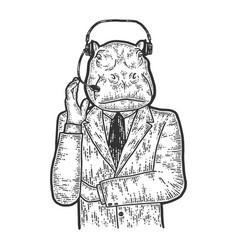 Hippopotamus in a suit employee call vector
