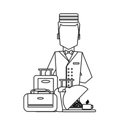 Hotel bellboy service black and white vector