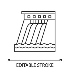 Hydroelectric dam linear icon vector