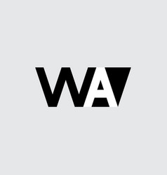 initials or logo with letters w and a wa vector image