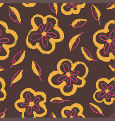ink floral artistic background vector image