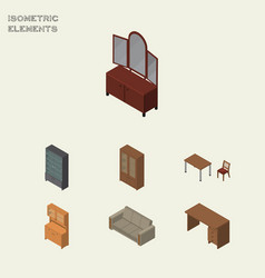 Isometric furniture set of cabinet couch chair vector