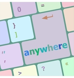 Keyboard with enter button anywhere word on it vector