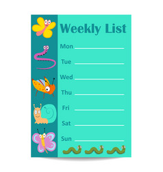 Kids weekly list with cartoon insects vector