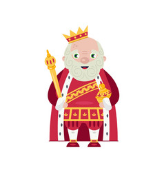 King wearing crown and mantle vector
