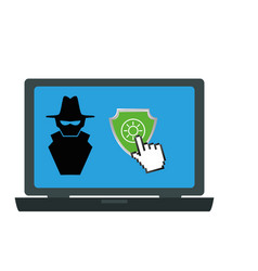 laptop computer with anti spy secure vector image