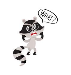 Little raccoon character unpleasantly surprised vector