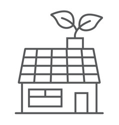 Low energy house thin line icon ecology energy vector