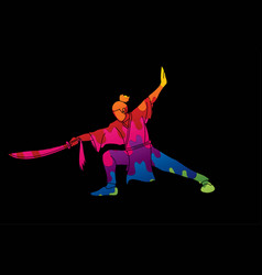 Man with sword action kung fu pose vector