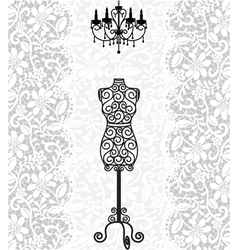 Mannequin and chandelier on lace background vector