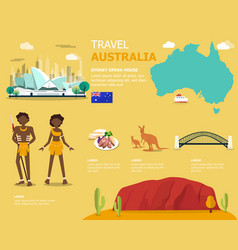 Map australia and landmark icons vector