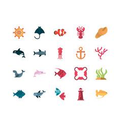 Marine life cartoon sea fauna animal set vector