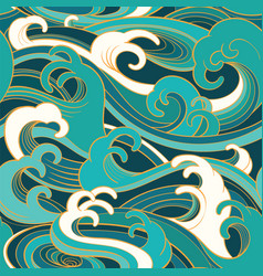 marine seamless pattern with water waves vector image