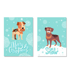 Merry christmas and let it snow cards with dogs vector