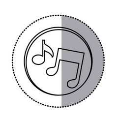 monochrome contour with circle sticker of musical vector image