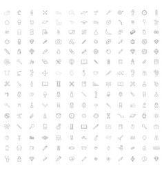 monochrome set with different universal line icons vector image