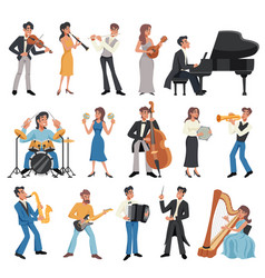 musician icon set vector image