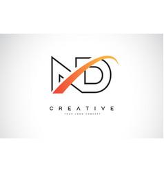 Nd n d swoosh letter logo design with modern vector