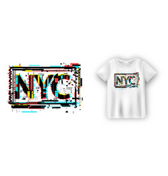 New york typography in glitch effect for t shirt vector