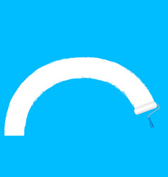 paint roller white on blue wall background and vector image