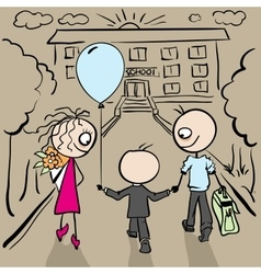 Parents accompany her son to school vector