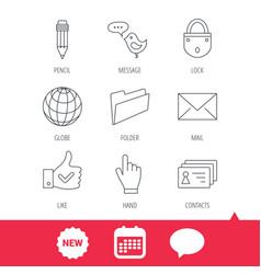 pencil press hand and world globe icons vector image