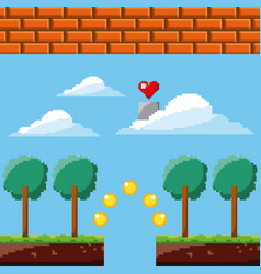 pixel game heart sky coins trees brick wall vector image