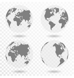 Planet earth icon set earth globe isolated on vector