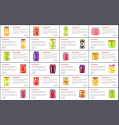 Preserved food in jars web online banners set vector