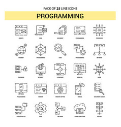 programming line icon set - 25 dashed outline vector image