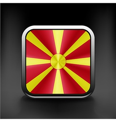 Raster version Flag of Macedonia glossy icon vector image