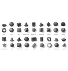 Realistic black basic geometric 3d shapes in top vector
